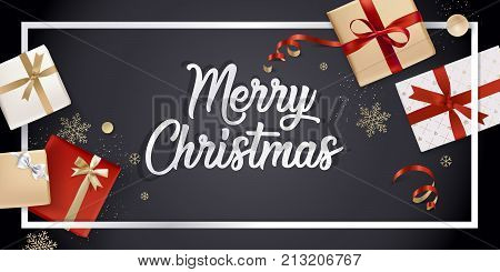 Merry Christmas greeting card. Vector illustration concept for greeting cards, web banner, flayer brochure, party invitation card.