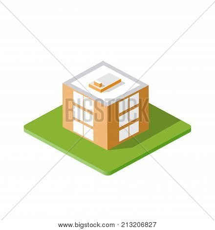 Isometric 3d private house real estate decorative icons. Architecture agency property and home. Isolated cartoon illustration of building symbol for web