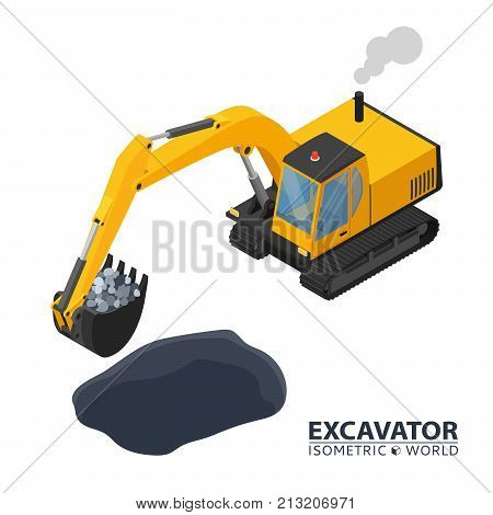 Isometric excavator isolated on white background. 3d icon construction digger. Special construction machinery. Vector illustration. Build your isometric world.