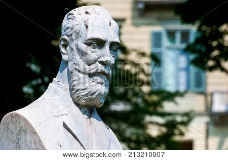 Turin, Italy -  June 17, 2010: Carlo Felice square, the bust of R. Sambuy
