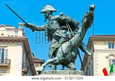 Turin, Italy -  June 17, 2010: The equestrian monument of Ferdinando di Savoia