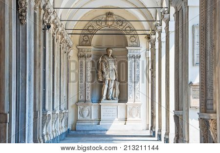 Turin, Italy - June 25, 2010: The monument of Vittorio Emanuele II in the tawnhall arcade