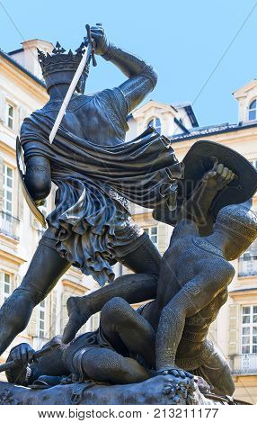 Turin, Italy - June 25, 2010: The monument of the Verde Earl in townhall square