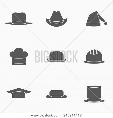 Set of hats monochrome icons. Safety helmet, bowler, top hat, graduation cap, chef, gangster, tourist, cowboy and Santa Claus hats. Vector illustration.
