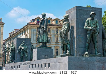 Turin, Italy -  June 24, 2010:  Castello square, the monumental group in memory of the Duca D'Aosta