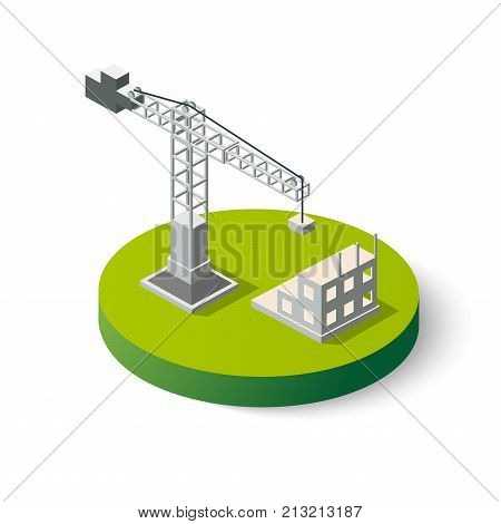 Isometric industrial crane icon for construction. Object clearing services for the building work