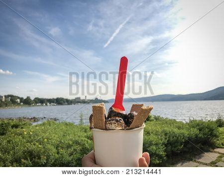 Icecream and cookies beside the river. Located in the northern part of the Hudson river in NY