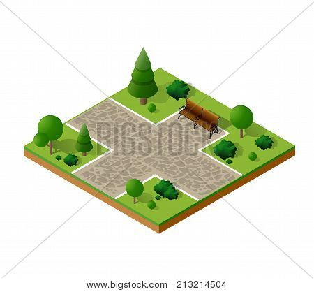 Isometric 3d trees forest camping nature elements white background for landscape design. Vector illustration isolated. Icons for city  games and your town
