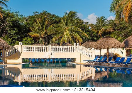 View Of The Swimming Pool On Site, Varadero, Matanzas, Cuba. Copy Space For Text.