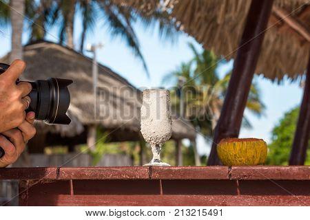 Camera Takes A Glass, Varadero, Matanzas, Cuba. Close-up.