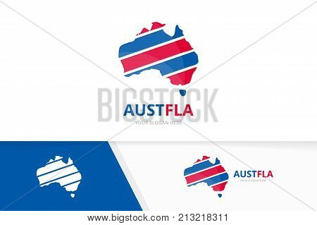 Set of australia logo combination. Oceania and country symbol or icon. Unique continent logotype design template.