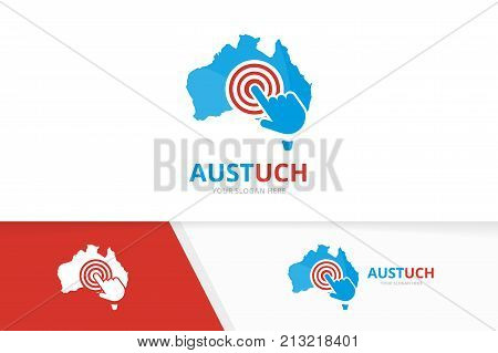 Vector australia and click logo combination. Oceania and cursor symbol or icon. Unique continent and digital logotype design template.