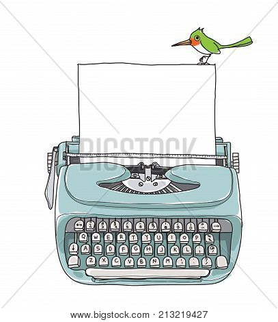 blue Mint vintage typewriter portable retro with paper and green bird hand drawn vector art illustration
