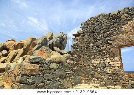 Aruba Island. Bushiribana Gold Smelter ruins. North coast, tourism, historic