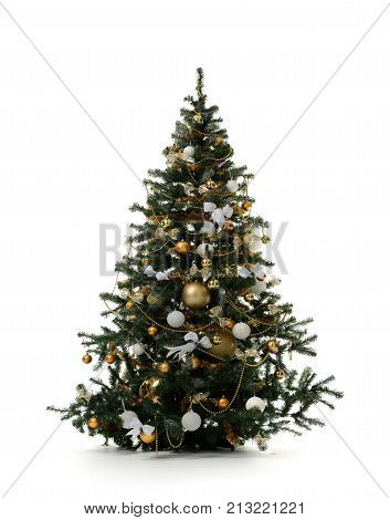 Decorated gold Christmas tree with golden patchwork ornament artificial balls for new year isolated on white background