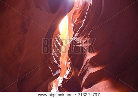 Slithering and glimmering Sunlight in Antelope Canyon
