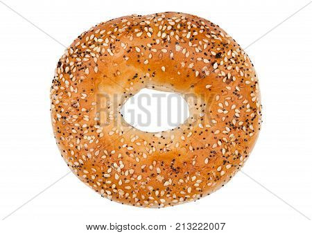 Fresh Breakfast Bread Bagel Roll Isolated On White