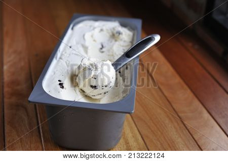 Homemade Organic Vanilla Ice Cream Scoop, Scooped Out Of A Container