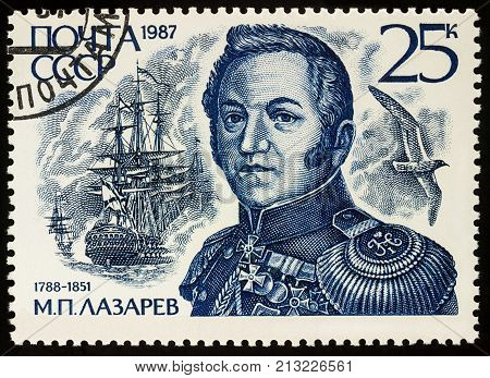 Moscow Russia - November 09 2017: A stamp printed in USSR (Russia) shows portrait of admiral Mikhail Lazarev (1788-1851) series