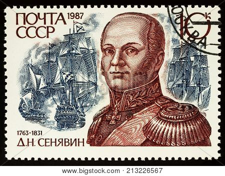 Moscow Russia - November 11 2017: A stamp printed in USSR (Russia) shows portrait of admiral Dmitri Senyavin (1763-1831) series