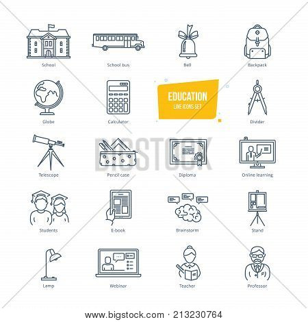 Education thin line icons, pictogram and symbol set. Icons for online education and learning, e-book, video tutorials, distance education, university, training courses. Vector illustration isolated.