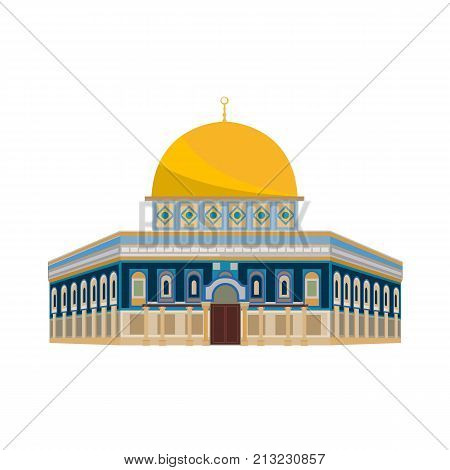 Architectural building. Countries of the world, architecture, monuments, landmark. Mosque: Dome of the Church - Jerusalem. Vector illustration