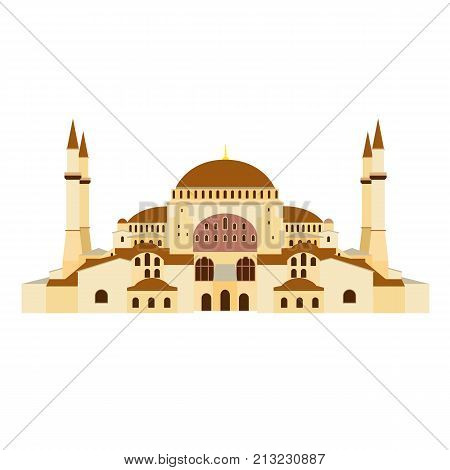 Architectural building. Countries of the world, architecture, monuments, landmark. Famous Orthodox Church of Hagia Sophia in Turkey. Orthodox cathedral, mosque, museum. Vector illustration.