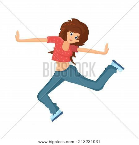 People dancing character in different poses. Beautiful dancing girl, teenager, makes vigorous movements, connecting movement of hands, feet, under rhythmic music. Cartoon vector illustration isolated