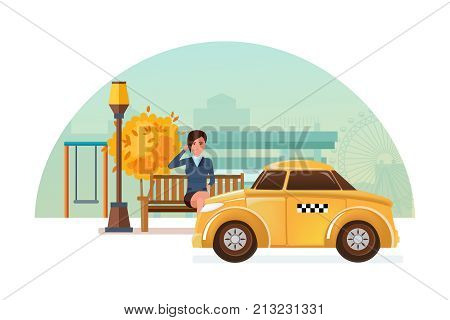 Taxi order service. Online service taxi order, call by phone, mobile application. Taxi online, cityscape. Girl in an autumn park, sitting on bench ordering taxi. Illustration character cartoon person.