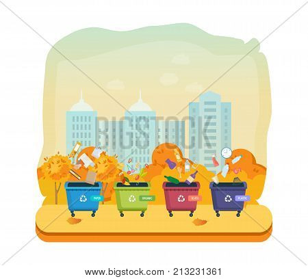 Containers for garbage of different types, on autumn street of city. Garbage cans for paper products, food waste, glass and plastic waste. Recycle, recycled paper, food, waste. Illustration isolated.