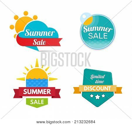 Summer sale. Design banners and discount stickers. Collection colorful stickers shopping, promotions. Special offer templates. Super sale, black friday, discount labels. Flat design sale stickers.