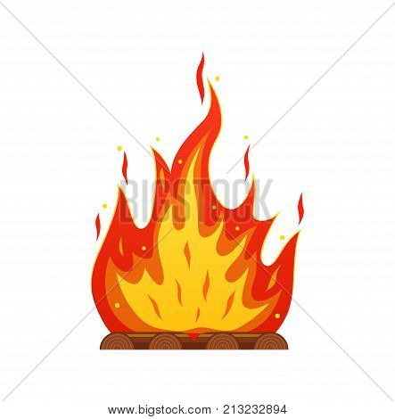 Burning firewood in the fire. Camping and tourism, outdoor activities, cooking. A bonfire, a fire with a great flame. Vector illustration isolated.