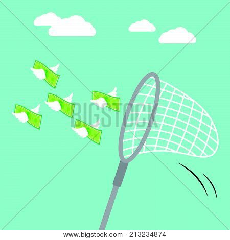 Vector Illustration Business Concept Designed As A Sweep Net Is Catching Flying Money With White Wings In The Air. It Means Seizing The Opportunity That Is Able To Generate Much More Income.