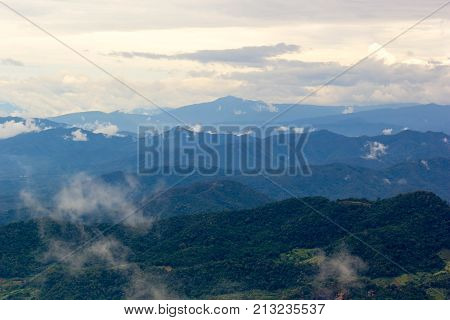 Beautiful Lanscape Nature Of Mountain And Mist In Morning