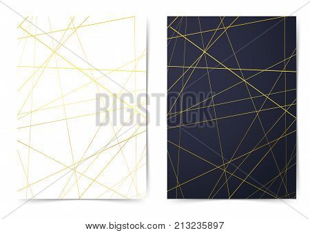 Golden abstract thin line pattern folder collection. Bright gold metallic stripes over white page and over dark blue layout. Vector illustration