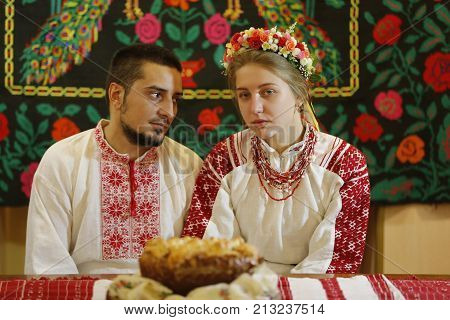 Belarus, Gomel, Folk Museum, 26.11.2016 Year. Reconstruction Of The Old Wedding Ceremony. The Bride