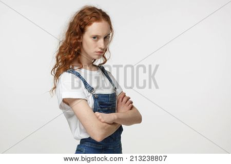 Indoor Closeup Photo Of Young Good-looking Redhead European Teenager Isolated On White Background Lo