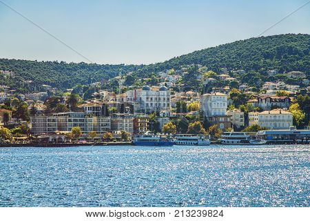 ISTANBUL TURKEY: View of Buyukada island from the sea. The island is one of four islands named Princes Islands in the Sea of Marmara near Istanbul Turkey on October 9 2017