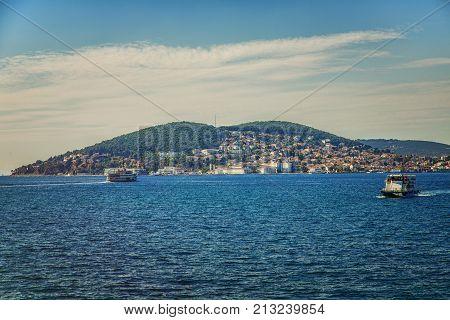View of Heybeliada island from the sea. The island is one of four islands named Princes Islands in the Sea of Marmara near Istanbul Turkey