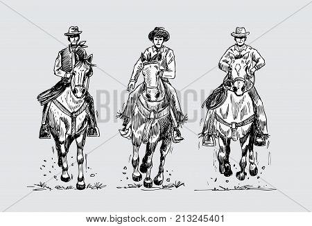 Hand drawn three cowboys riding horses, vector illustration
