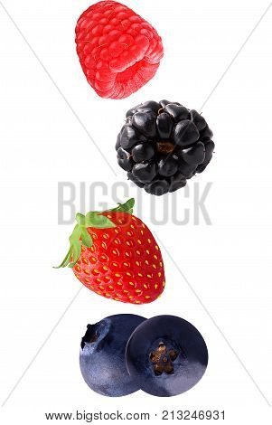 Falling Raspberry, Strawberry And Blueberry Fruits Isolated On White