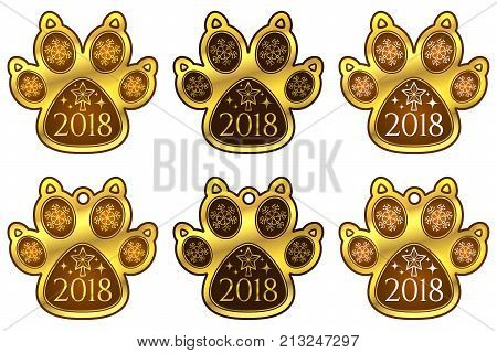New Year Dog Paw 2018. Set Of Stickers