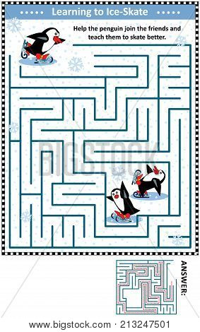 Winter or holidays themed maze game or activity page with skating penguins: Help the penguin join the friends and teach them to skate better. Answer included.