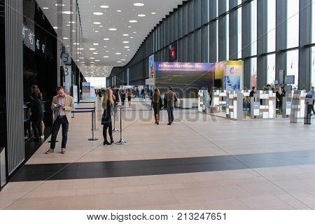 St. Petersburg, Russia - 3 October, A spacious hall of the Expo forum, 3 October, 2017. Expo Forum venue of the St. Petersburg Gas Forum.