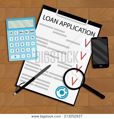 Calculate loan payments top view table. Payment to loan application on wooden table. Vector illustration