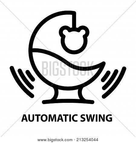 Line icon of automatic baby bouncer on white background. Child gadjet swing logo concept in linear style. Vector illustration.