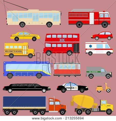 Transport public transportation cars trucks. Flat design vector illustration vector.