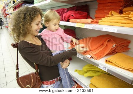 Mother With Baby At Shop