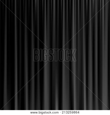 Black curtain background. Vector realistic black curtain
