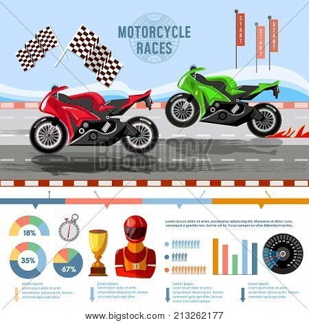Motorcycle races banner infographic. Moto sport concept vector. Motorcycle racing championship on the racetrack